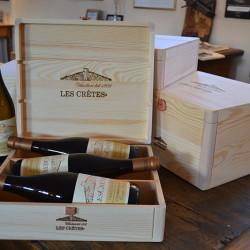 Confezioni Regalo Les Crêtes: cassetta in legno logata da 3 e 6 bottiglie 0.75L
