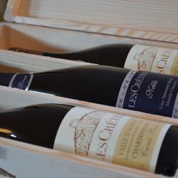 Confezioni Regalo Les Crêtes: cassetta in legno logata da 3 bottiglie 0.75L