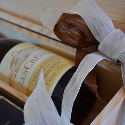 Confezioni regalo Les Crêtes: cassetta in legno logata da 3 o 6 bottiglie 0.75L