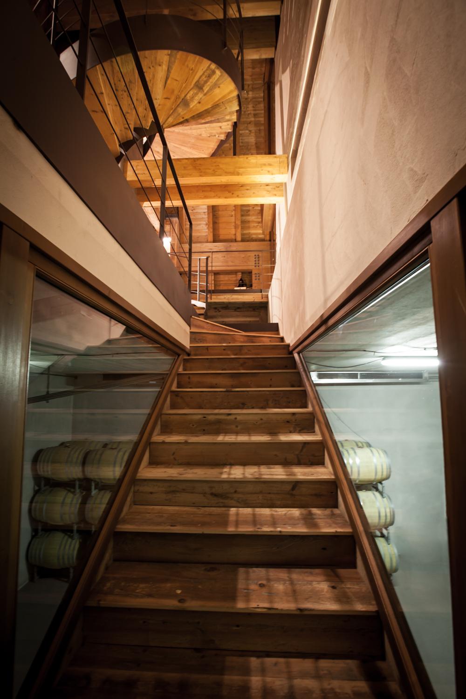 Rifugio del Vino: la scala in legno che scende in barricaia e le botti sullo sfondo