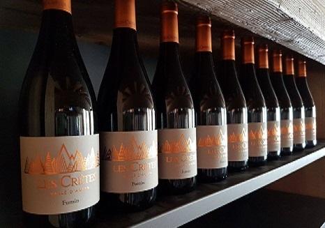 Rossi Les Crêtes: in foto il Fumin il cui nome deriva dal color grigio fumo dei suoi acini, ricchi di pruina. E' vinificato per la prima volta in purezza da Les Cretes nel 1993, rivelandosi un vino di grande eleganza, adatto al lungo affinamento in bottiglia.