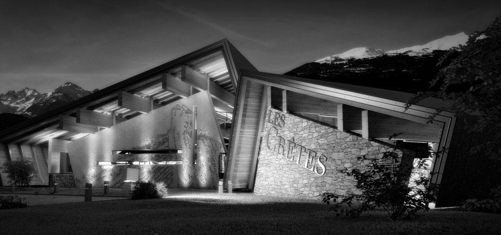 Il Rifugio del Vino; sala di degustazione emozionale e collegamento alla storica cantina Les Crêtes di Aymavilles