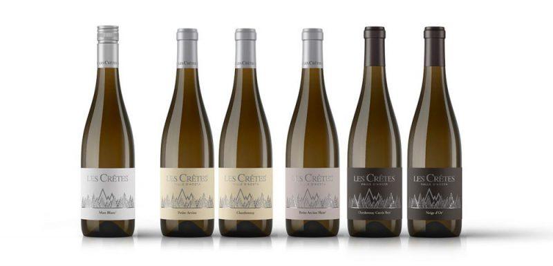 I Bianchi Les Crêtes: da sn Mon Blanc, Petite Arvine, Chardonnay, Petite Arvine Fleur, Chardonnay Cuvée Bois e Neige d'Or.