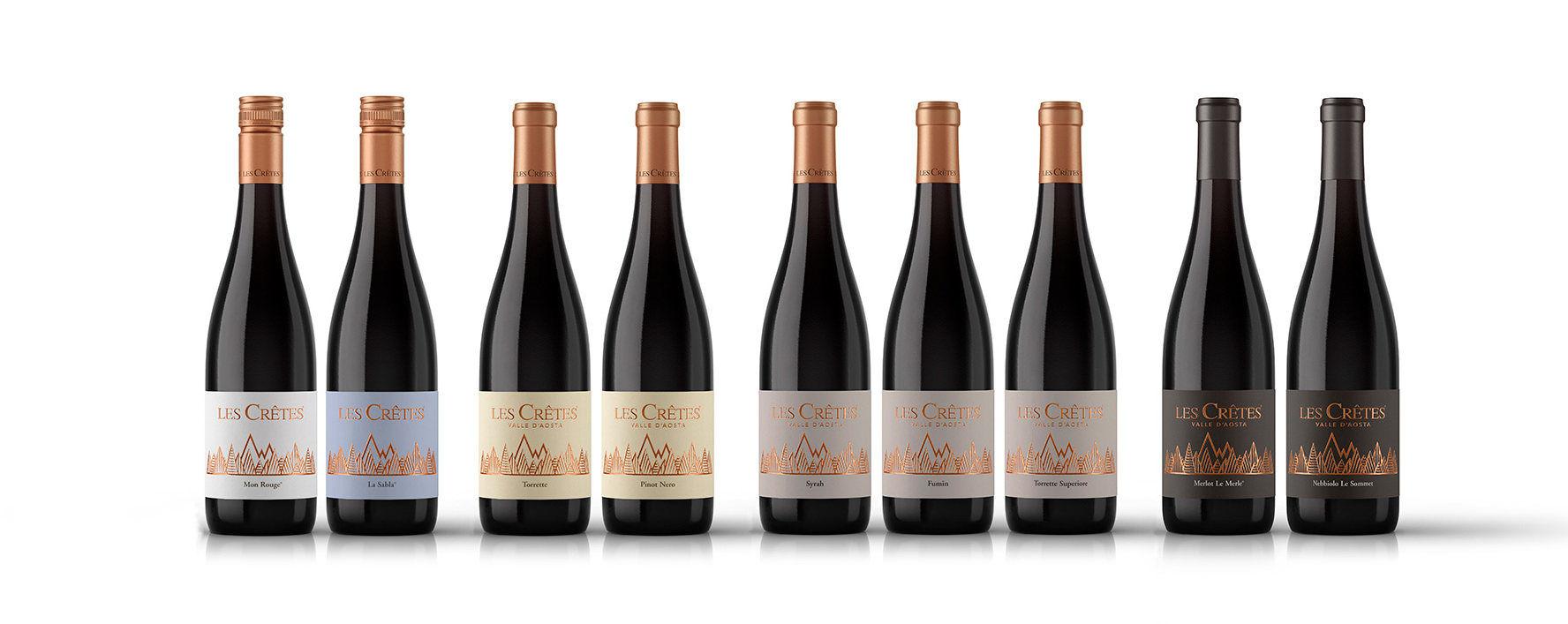 I Rossi Les Crêtes: da sn Mon Rouge, La Sabla, Torrette, Pinot Nero, Syrah, Fumin, Torrette Superiore, Merlot e Nebbiolo