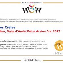 "I Diplomi di Les Crêtes per ""WOW! The Italian Wine Competition"""