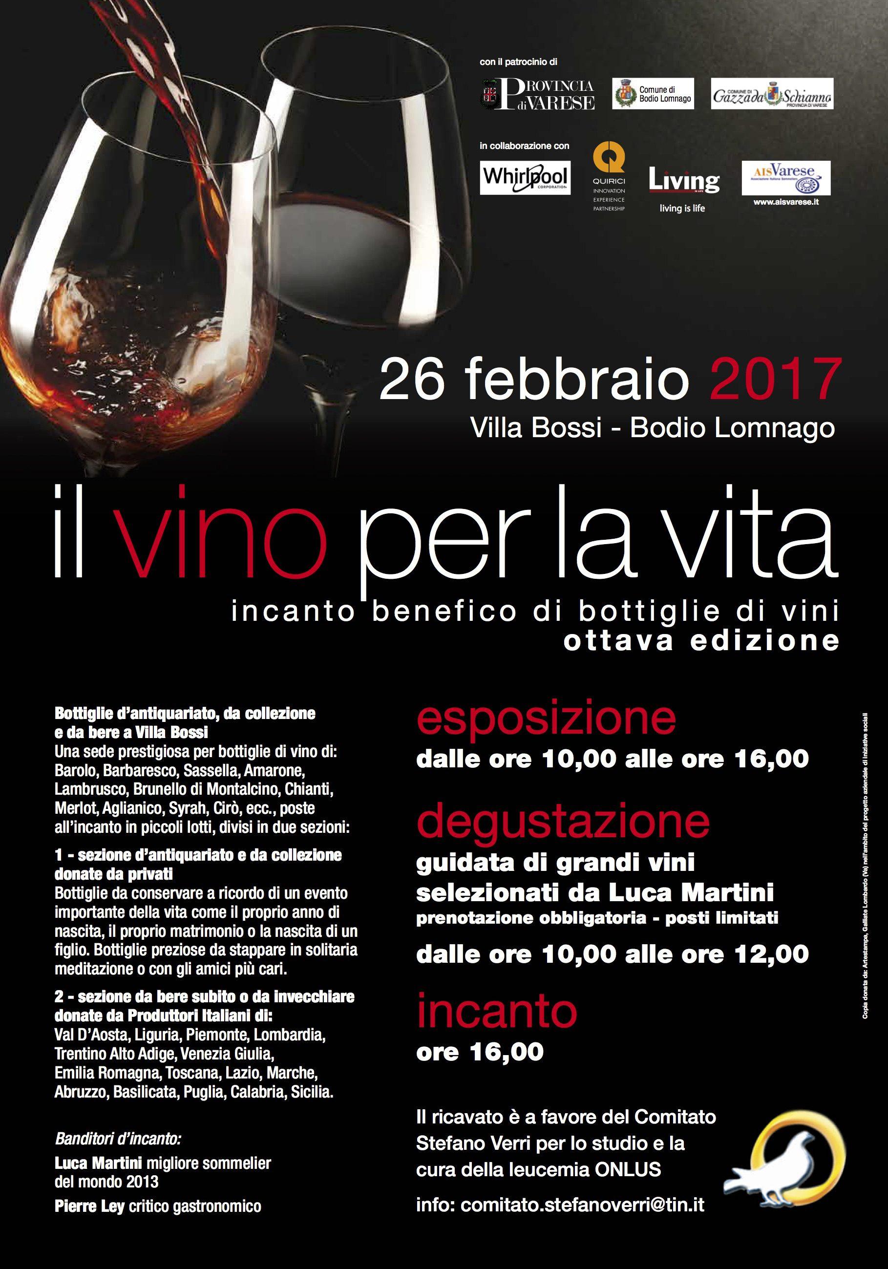 """Il nostro Vin de la Sabla sarà protagonista dell'8° edizione de """"Il vino per la vita"""""""