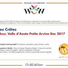 "I Diplomi di Les Crêtes per ""WOW! The Italian Wine Competition"""